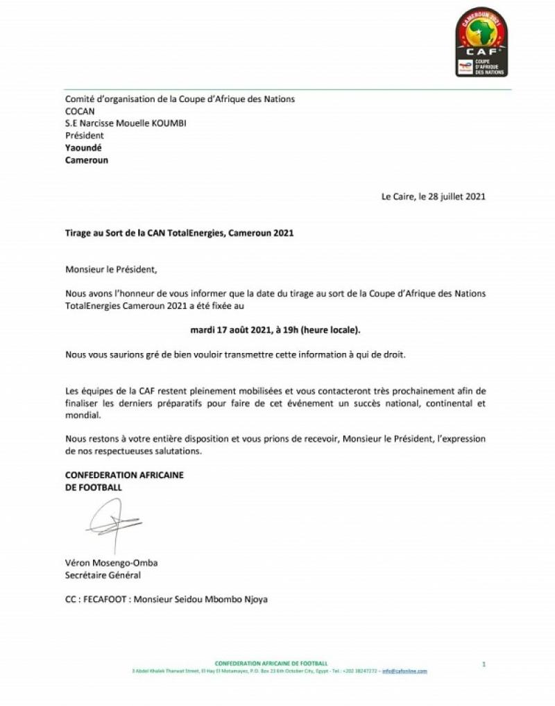 Lettre de la CAF au COCAN
