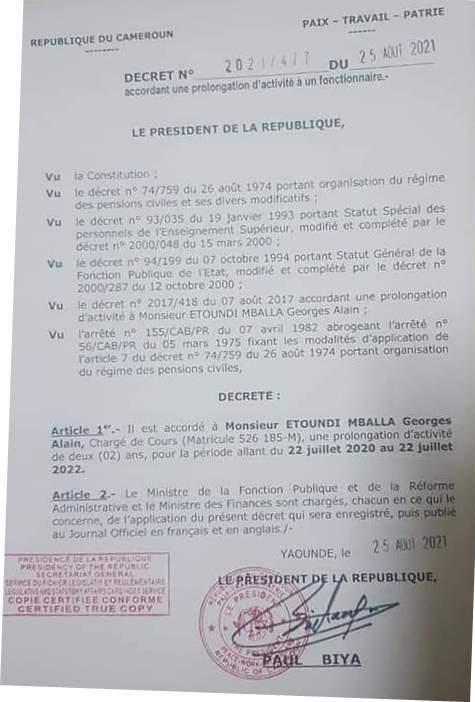 Décret de Paul Biya