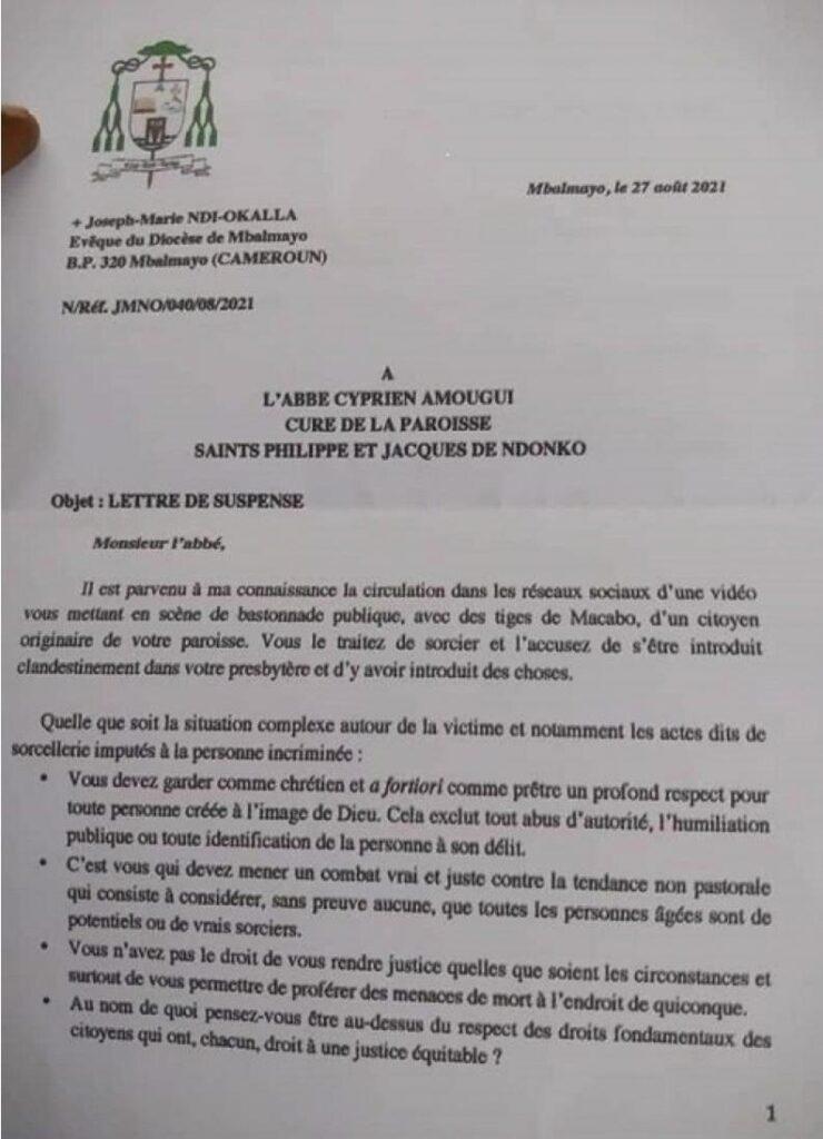 Suspension de l'abbé Cyprien Amougui