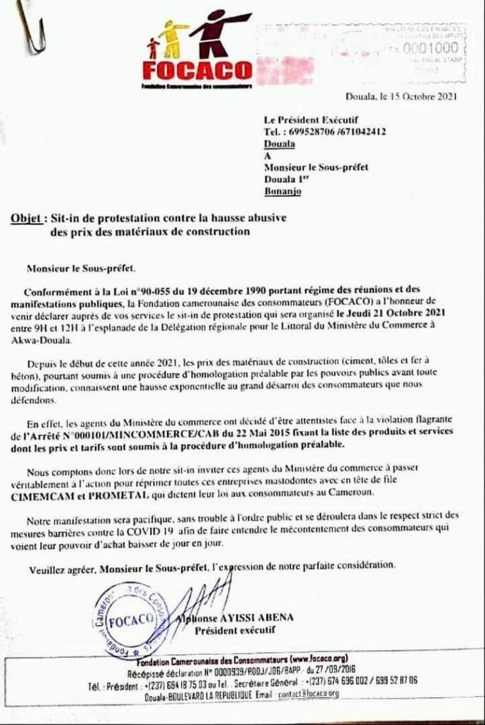 Déclaration de manifestation de la Focaco