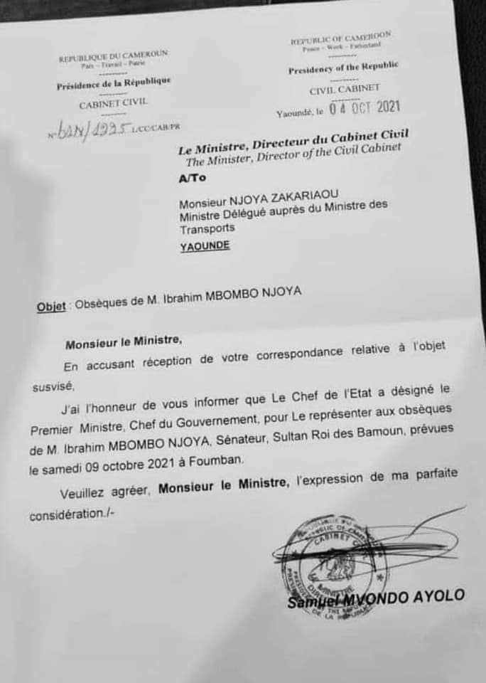 la correspondance de Samuel Mvondo Ayolo